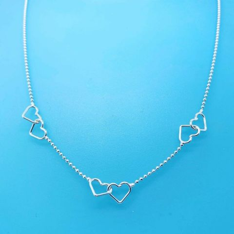 Genuine 925 Sterling Silver 16 Inch Tiny Bead Chain With 3 Linked Hearts